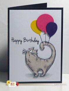 - - Cathy's Card Spot: Birthday cat & Balloons! Cards Cathy's Card Spot: Geburtstagskatze & Luftballons! Simple Birthday Cards, Homemade Birthday Cards, Birthday Cards For Friends, Bday Cards, Funny Birthday Cards, Diy Birthday, Birthday Greeting Cards, Greeting Cards Handmade, Card Birthday