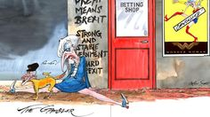 Theresa May after the general election -  cartoon by Gerald Scarfe in The Times https://www.thetimes.co.uk/edition/election-2017/i-look-stupid-not-strong-and-stable-theresa-may-said-after-the-shock-general-election-result-jeremy-corbyn-10-downing-street-gv0z0f5x8