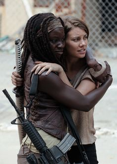 Danai Gurira and Lauren Cohan behind the scenes of The Walking Dead.....!!!!