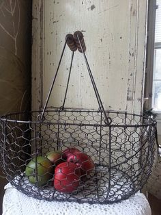 Large Wire With Wood Handles French Style Market basket