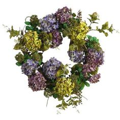 Add color to your door with this beautiful hydrangea silk wreath.