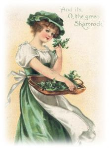 free vintage st patricks day download :: woman with basket of shamrock