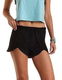 Crochet High-Waisted Tulip Shorts: Charlotte Russe #crochet #shorts
