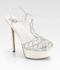 Sergio Rossi Bridal Crystalcoated Satin Tstrap Sandals