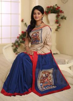 Buy Online Hand painted madhubani work on pure tasar in front and cotton silk pleats and pallu from Sujatra with length of meters, delivered in 7 to 10 days, easy return policy, COD available, blouse piece included. Trendy Sarees, Fancy Sarees, Kalamkari Saree, Kalamkari Fabric, Ikkat Saree, Saree Painting Designs, Hand Painted Sarees, Black Lace Midi Dress, Kurti Patterns