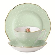 Waterford Wedgwood cups & saucers | Royal Albert New Country Roses Polka Rose Cup, Saucer & Plate