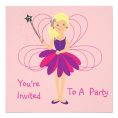 Cute Fairy Party Invitations  Just the thing for any little girl these cute pink and purple fairy party invitations all ready for you to personalize with your details.