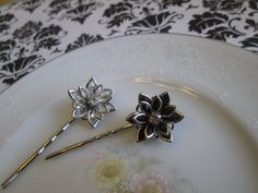 Vintage Glam Inspired Bobby Pins, Black & Clear Stained Glass Flowers with Rhinestone Center on Silver Hair Pins Bobby Pins Set. $10.00, via Etsy.