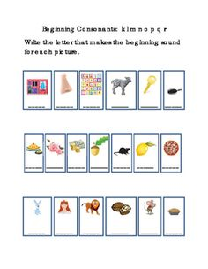 Kindergarten+Reading+Write+Beginning+Consonants+Letters+K+L+M+N+O+P+Q+R+for+Each+Picture.+Tools+for+Common+Core,+Emergent+Reader.+Critical+Thinking.+Printable.+1+page.+
