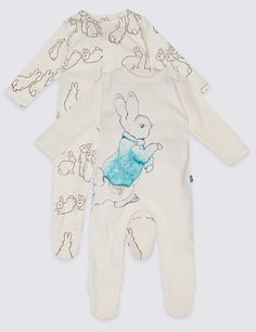2 Pack Pure Cotton Peter Rabbit™ Sleepsuit. Beatrix Potter unisex sleepsuit for boys and girls. See more at http://www.parentideal.co.uk/marks-and-spencer--baby-girls-boys-sleepsuits.html or visit click on link to visit shop and view prices. Sizes Newborn to 2 years, cotton, machine washable. #Sleepsuits #Sleepsuit #BabyNightwear #BabyClothes #Newborn #BabyBoysClothes #BabyGirlsClothes #BeatrixPotter #PeterRabbit