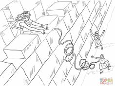 Rahab Helps the Spies Coloring Page Unique Rahab and the Spies Coloring Pages Bible Story Crafts, Bible School Crafts, Bible Crafts For Kids, Sunday School Crafts, Bible Stories, Bible Coloring Pages, Free Printable Coloring Pages, Coloring Pages For Kids, Kids Coloring