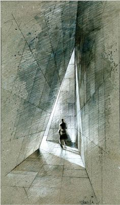 ARCHITECTURAL COLOR SKETCHES | 265 Mourning House / Pascal Arquitectos Mexico City, Mexico.   Perspective rendering