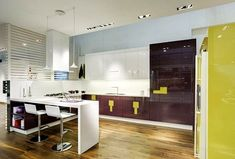 colorful kitchen - Not bad, but better if it was gold instead of yellow. Love how easy to clean the cupboards probable are.