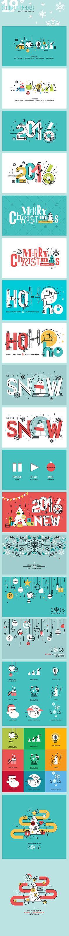 Set of Flat Line Design Christmas Greeting Cards on Behance