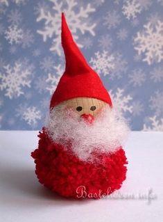 Christmas and Winter Crafts for Kids - Pom-Pom Santa Claus. Christmas Pom Pom Crafts, Christmas Projects, Holiday Crafts, Crochet Christmas, Christmas Wreaths, Santa Ornaments, Ornament Crafts, Christmas Makes, Kids Christmas