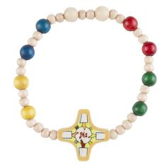 First Communion Wood Rosary Bracelet, made in Italy.