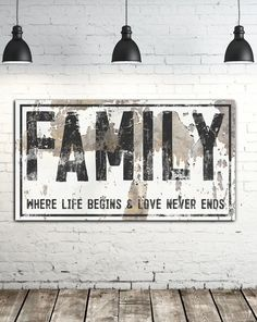 Family Sign Where Life Begins Farmhouse Wall Art canvas print for living room, kitchen or entry.  #modernhomes #modernfarmhouse #farmhousedecor #farmhouse #farmhousestyle #farmhouselivingroom  #cottagedecor #farmhouseinspired #cottagestyle #industrialfarmhouse #industrialdesign #farmhousebedroom #vintagesign #rusticdecor #shop #industrialdesign #designinspiration #fallforhomedecor #falldecorinspiration #modernfarmhouse #entryway #family #wallsofwisdom Farmhouse Wall Art, Farmhouse Side Table, Farmhouse Bedroom Decor, Farmhouse Christmas Decor, Farmhouse Style Kitchen, Modern Farmhouse Decor, Farmhouse Style Decorating, Home Decor Kitchen, Home Decor Wall Art