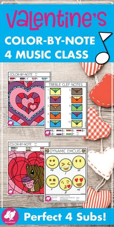 Valentine's Day Color by Note for Music Class! These colouring, no-prep printables will give your students a peaceful, fun activity that reviews music terminology. Treble, Bass, & Alto clef versions are also included for your band and orchestra students. US and UK terminology are included for rhythms and answer keys are included for music subs lesson plans! They are No-Prep and will look great on your bulletin board this February! #sillyomusic