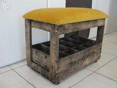 Fauteuil siège d'appoint caisse en bois relookée Crates, Decoration, Diy, Environment, Interiors, Ottomans, Storage, Arredamento, Furniture