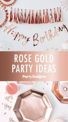 Inspiration for a Stunning Rose Gold Party Anyone else loving the rose gold trend right now? Check out our rose gold party ideas for inspiration for a gorgeous rose gold birthday party. Browse decorating ideas, party food ideas, party bag ideas and more. 13th Birthday Parties, Gold Birthday Party, 23rd Birthday, Adult Birthday Party, Birthday Party Themes, Sweet 16 Birthday, 18th Birthday Party Ideas Decoration, Birthday Party Ideas For Adults 30th, 18th Birthday Decor