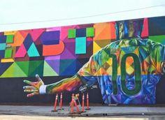 Neymar jr portrait by Eduardo Kobra, located in Los Angeles Kobra Street Art, Best Street Art, California Love, Beautiful Places In The World, Neymar Jr, Street Artists, Banksy, Weird, Marvel