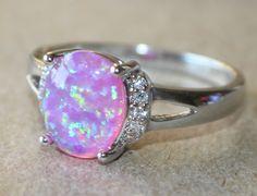pink fire opal Cz ring gemstone silver jewelry Sz 8.5 elegant modern cocktail S5 #Cocktail