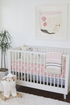 Melissa'a Adorably Chic Pink & White Nursery Reveal @potterybarnkids