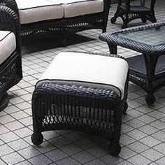 Ebony All-Weather Wicker Double Ottoman by The Outdoor GreatRoom. $359.10. Includes sun proof cushions. Made from hand woven wicker. Features a sturdy, rust proof aluminum frame. The will look great with any of the Ebony chairs and rockers adding comfort to your outdoor room. This ottoman comes complete with an ivory cushion made of sun-proof Sunbrella fabric. Built of a rust-proof aluminum frame with black hand woven resin wicker it will withstand harsh weather ...