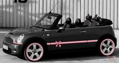 Mini cooper with a pink bow. #pink #bow #minicooper