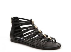 Steve Madden Canee Multi Strap Metallic Detail Flat Gladiator Sandal synthetic black/gold, cognac/gold sz7.5 44.95 4/16