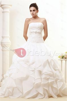 Glorious Strapless A-line Tiered Chapel Ruffles Taline's Wedding Dress