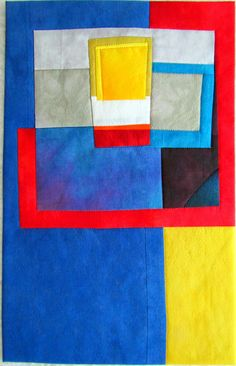"""Clarity Hand dyed cottons and silk, fused, machine quilted. 10x15.5"""""""