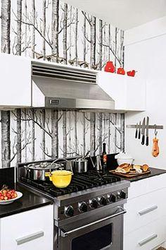 kitchen backsplash out of wallpaper