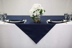54 inch Square Navy Blue Tablecloth Polyester | Wedding Table Overlays