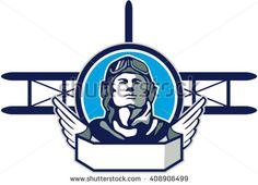 World War One Aviator Pilot Biplane Circle Retro Vector Stock Illustration. Illustration of a vintage world war one pilot airman aviator front with spad biplane fighter planes in background set inside circle done in retro style. Vintage Trends, Vintage Designs, Vintage Ideas, Air Festival, Retro Vector, Fighter Pilot, World War One, One Pilots, Veterans Day