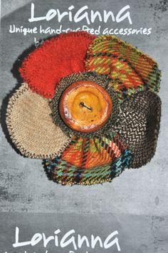 YELLOW ORANGE BROWN tartan tweed coat jacket pin brooch flower handmade button