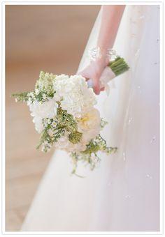 hydrangea and peony wedding bouquet