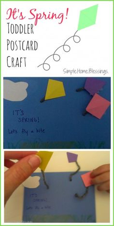 It's Spring! Toddler postcard craft - simple craft for little hands to celebrate spring