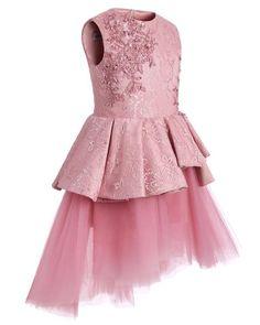 da59dcdcf5be Pink Lace Tulle High Low Ruffles Cute Flower Girl Dresses