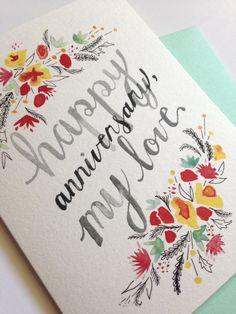 Happy Anniversary My Love // Anniversary Card // by SableAndGray
