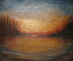 Sunset at Candle Lake  Acrylic and mixed media on Canvas  By Jewel Buhay