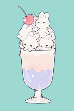 Food Kawaii, Griffonnages Kawaii, Arte Do Kawaii, Kawaii Bunny, Bunny Bunny, Kawaii Room, Bunnies, Cute Food Drawings, Cute Little Drawings