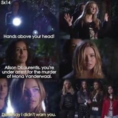 Alison DiLaurentis you're under the arrest for the murder of Mona Vanderwaal. I'm Still Here, Pll, Pretty Little Liars, It Cast, Things To Come, Sayings, Life, Theory, Films