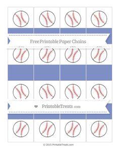 Free Pastel Dark Blue Baseball Paper Chains