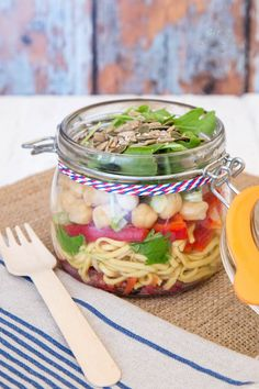 This noodle packed lunch salad in a jar is the perfect healthy meal-on-the-go