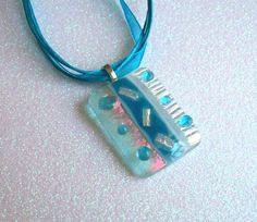 Fused Glass Pendant (Turquoise and Iridized Clear)