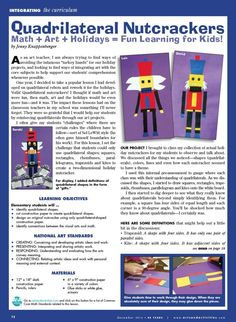 Arts and Activities: Quadrilateral Nutcrackers for the holidays. Math + Art + Holidays = Fun learning for kids!