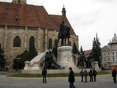 Statue Hungarian King Matthias Corvinius - Cluj-Napoca- Kolozsvar Transylvania ( was Hungarian land now Romania detract the land All Over The World, Hungary, Romania, Cathedral, Beautiful Places, Louvre, Statue, Country, City