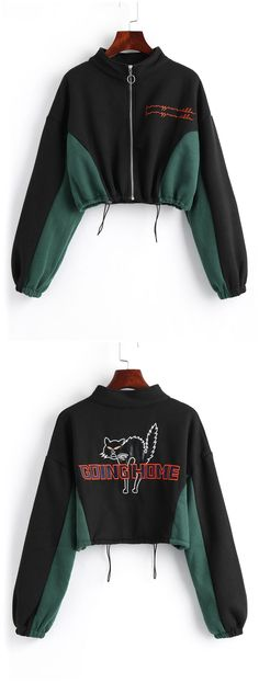 This stand collar sweatshirt features a letter, cat embroidered patch design on the front and back in a cropped length with drawstring hemline and elastic cuffs. Casual Summer Dresses, Trendy Dresses, Fall Dresses, Nice Dresses, Winter Fashion Outfits, Fall Outfits, Fashion Fall, Fashion Story, Sweatshirts