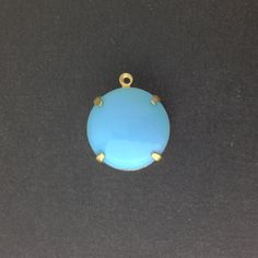 Vintage Opaque Blue Glass Stones 1 Loop Brass by yummytreasures